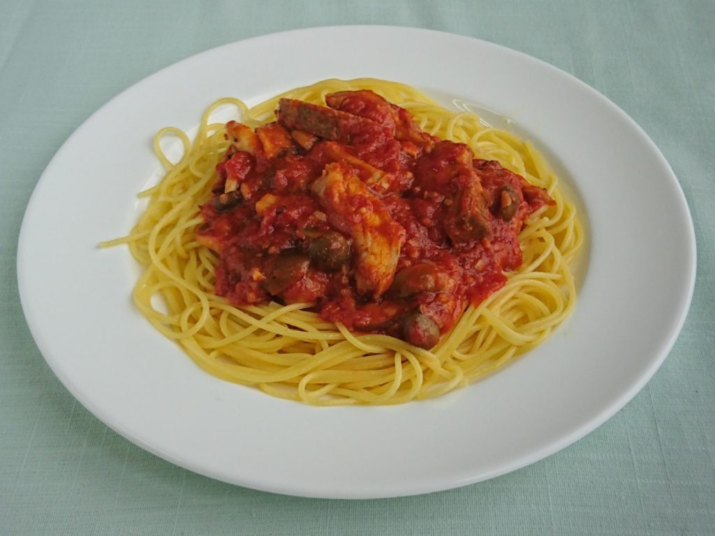 Spaghetti & sauce porc parfumé aux champignon(スパグェティ&ハーブポークとキノコソース)